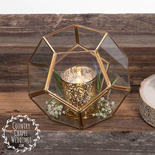 Gold Geometric Terrarium ~ Wedding Terrarium ~ Succulent Terrarium ~ Geometric Wedding Centerpiece ~ Geometric Centerpiece ~ Gold Wedding (8) by Country Chapel (Image #2)