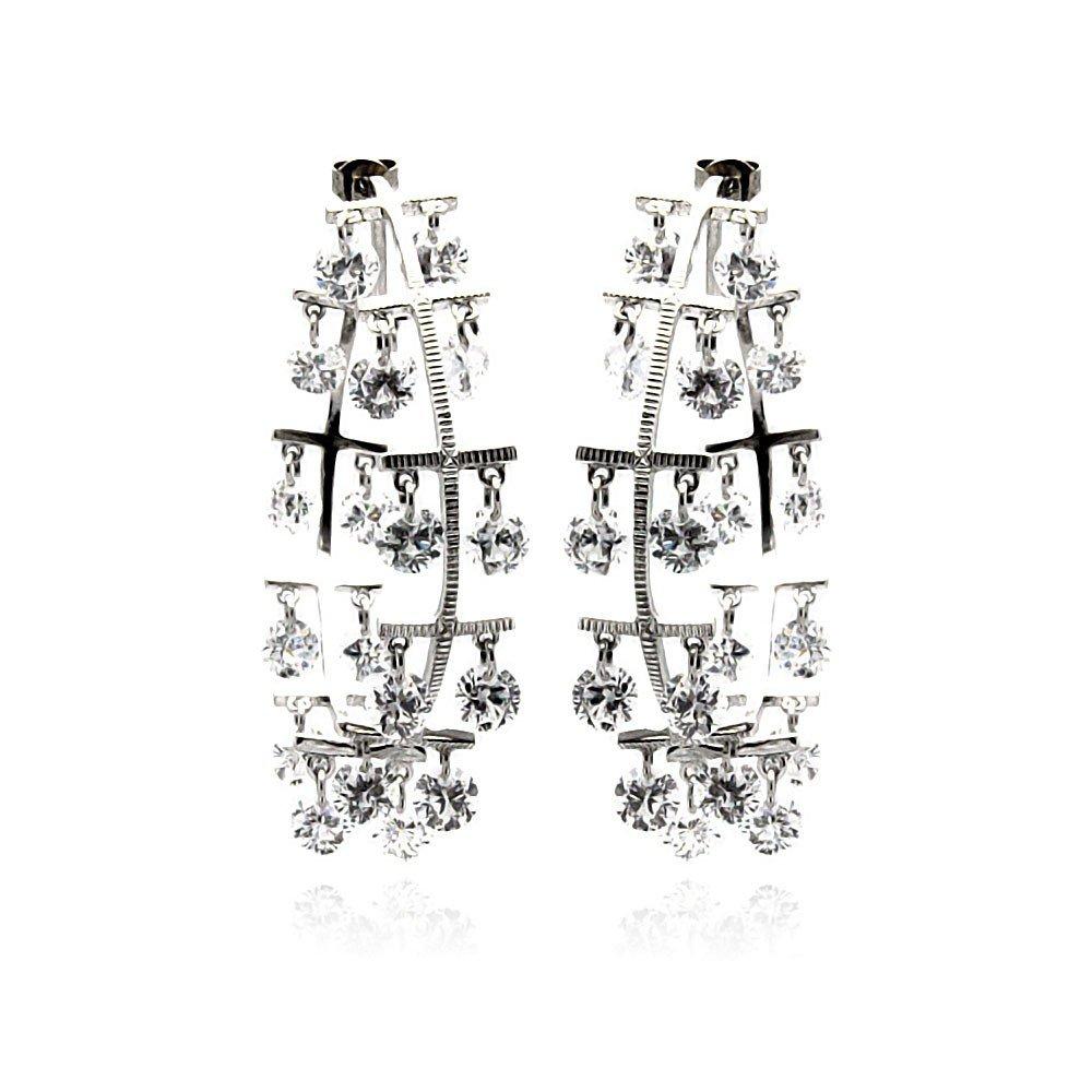 Clear Cubic Zirconia Dangling Stones Hoop Earrings Rhodium Plated Sterling Silver