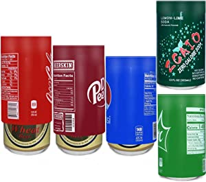 5Pack Beer Can Cover Silicone Sleeve Hide A Beer Can Wraps Beverage That Looks Like Soda, Suitable for All 12FL OZ 355ml Aluminum Can