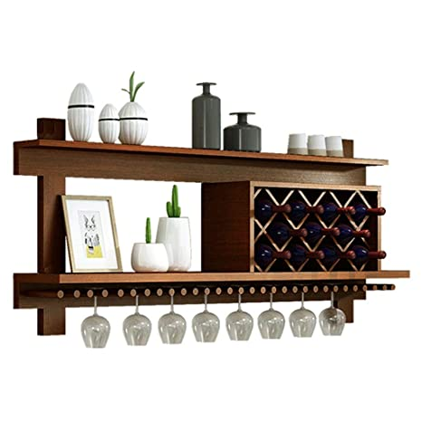 Amazon.com: SYF - Estantería de vino de madera maciza con ...