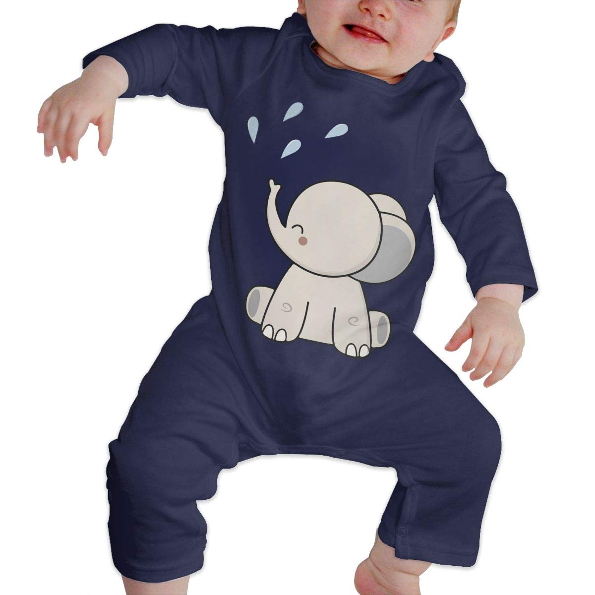 LBJQ8 Cute Happy Elephant Baby Infant Girls Organic Cotton Romper Pajama Clothes