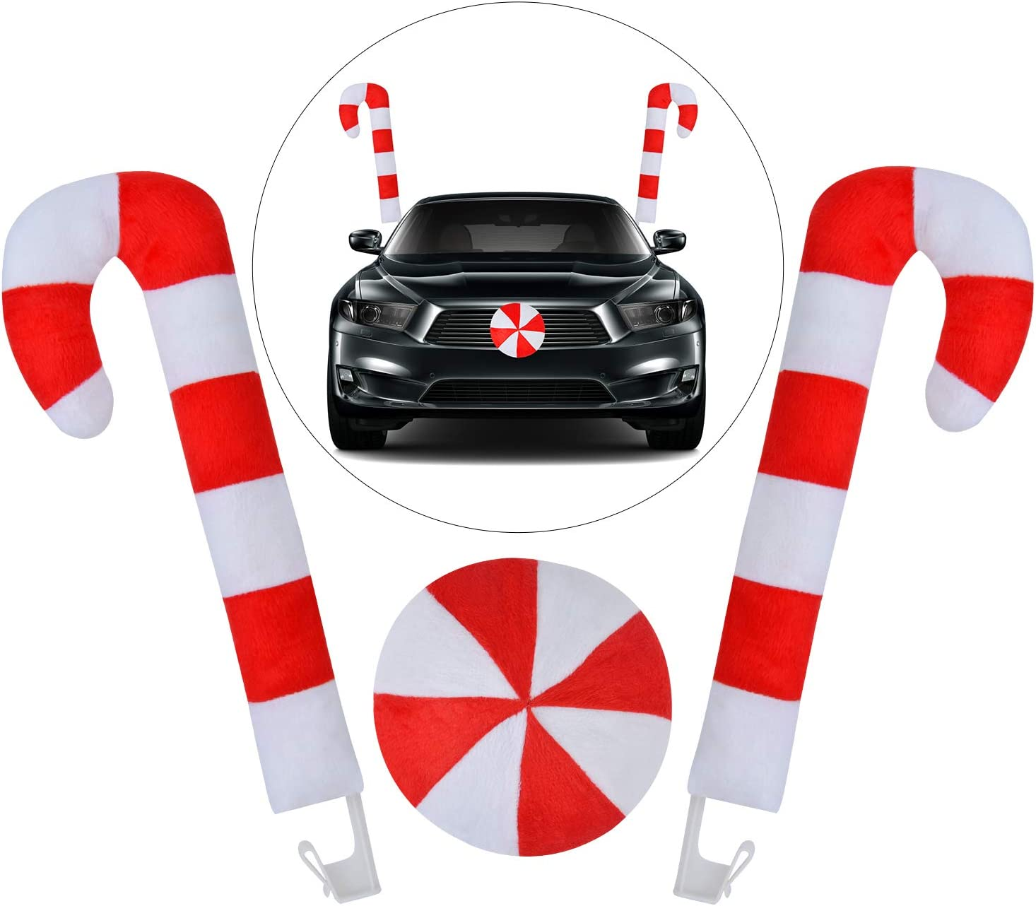 Outgeek Christmas Car Decorations Candy Cane Antler Nose Auto Decor Car Supplies Window Roof-Top & Front Grille Holiday Xmas Vehicle Costume Kit Auto Accessories