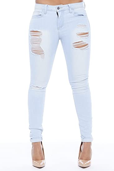 delicate colors largest selection of 2019 popular stores Womens Light Wash Ripped Basic Mid Rise Denim Skinny Jeans ...
