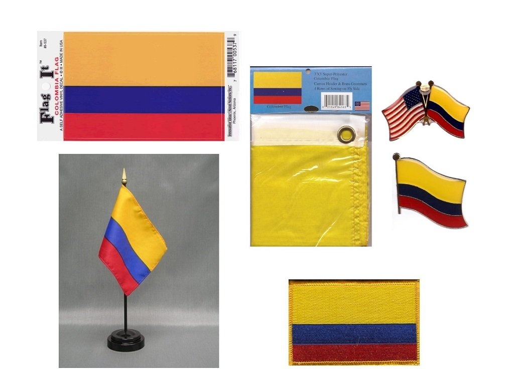 Colombia Heritage Flag Pack - Includes a Colombian 3x5' Flag, Vinyl Flag Decal, One Single & One Double Friendship Flag Lapel Pin, Miniature Desk Flag with Stand & One Iron-On Flag Patch
