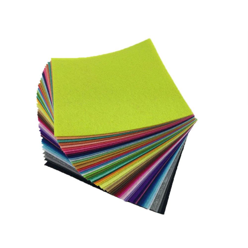 flic-flac 54pcs Felt Fabric Sheet Assorted Color Felt Pack DIY Craft Squares Nonwoven 15cm15cm