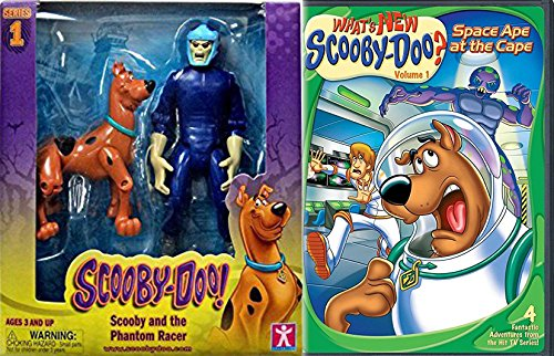 Scooby Doo Double Pack - What's New Scooby-Doo? Cartoon & Scooby Doo 5 inch action Figures Twin Pack - Scooby and The Phantom Racer Monster - Space Ape at the Cape DVD Sticker Bundle Vol. 1 Animated Set