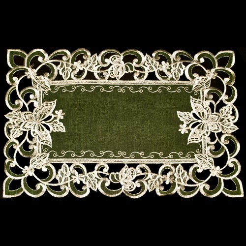 tterfly Green Linen Place Mats or Doily 11