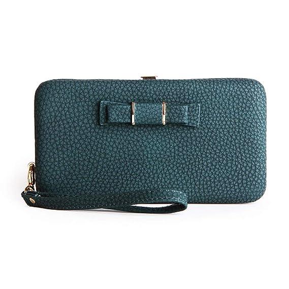 a94ab0d9f732 Women Bowknot Wallet Long Purse Phone Card Holder Clutch Large Capacity  Pocket (Blackish Green)