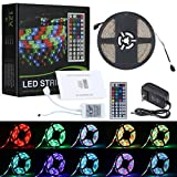 #8: Lampwin RGB LED Strip Light Kit with 16.4FT DC 12V Flexible IP65 Waterproof 300 Units SMD 3528 Color Changing LED Rope Light, Multi-color 44 Key IR Remote Controller, DC 12V 2A Power Supply Adapter