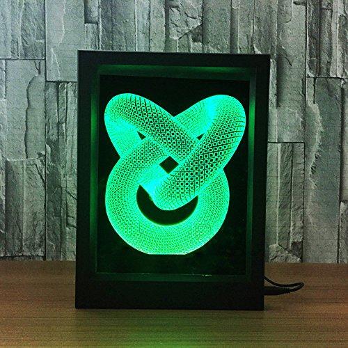 Control 7 Colores Que cambian USB LED Luz de Noche 3D Mesa Escritorio Lampara Visual Decoracion del hogar Amor Nudo Marco de Fotos