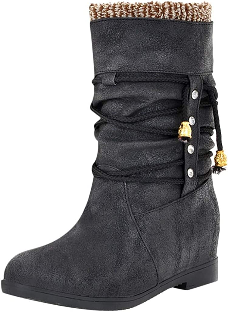 LBPSUUEW Womens Mid-Calf Boots Increase Within Boot Student Casual Middle Tube Large Size Boots