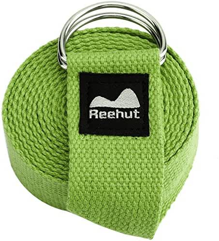 Reehut Fitness Exercise Yoga Strap (6ft, 8ft, 10ft) w/ Adjustable D-Ring Buckle for Stretching, Flexibility and Physical Therapy