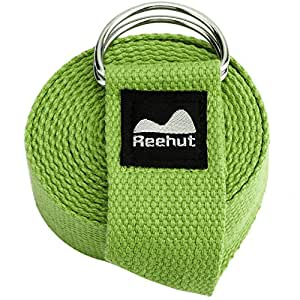 Reehut Fitness Exercise Yoga Strap (6ft) w/ Adjustable D-Ring Buckle for Stretching, Flexibility and Physical Therapy (Army Green)