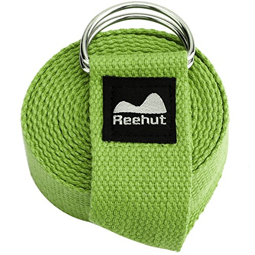 Reehut Fitness Exercise Yoga Strap (8ft) w/ Adjustable D-Ring Buckle for Stretching, Flexibility and Physical Therapy (Army Green)