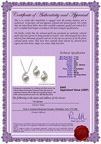 Blanc 7-8mm AA-qualité perles d'eau douce 925/1000 Argent-un set en perles