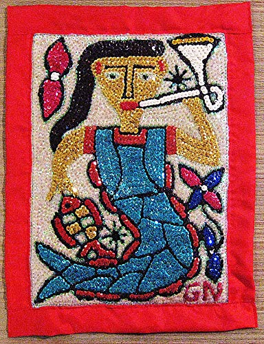 (CORAL REEF CREATIONS Haitian La Siren with Trumpet Vodou or Voodoo Flag (Wall Tapestry))