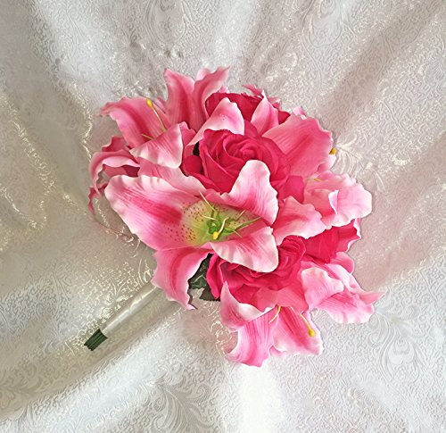 Fuchsia Pink Stargazer Lilies Roses HandTied Bridal Bouquet Silk Wedding Decoration Flowers Artificial Arrangement