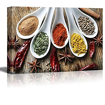 Canvas Prints Wall Art - Still Life Various of Spices on Rustic Wooden Table Food/Kitchen Concept | Modern Wall Decor/Home Decoration Stretched Gallery Canvas Wrap Giclee Print - 24