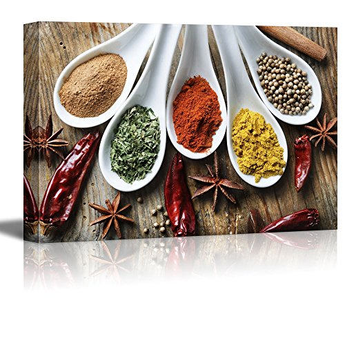 (wall26 Canvas Prints Wall Art - Still Life Various of Spices on Rustic Wooden Table Food/Kitchen Concept | Modern Wall Decor/Home Decoration Stretched Gallery Canvas Wrap Giclee Print - 24
