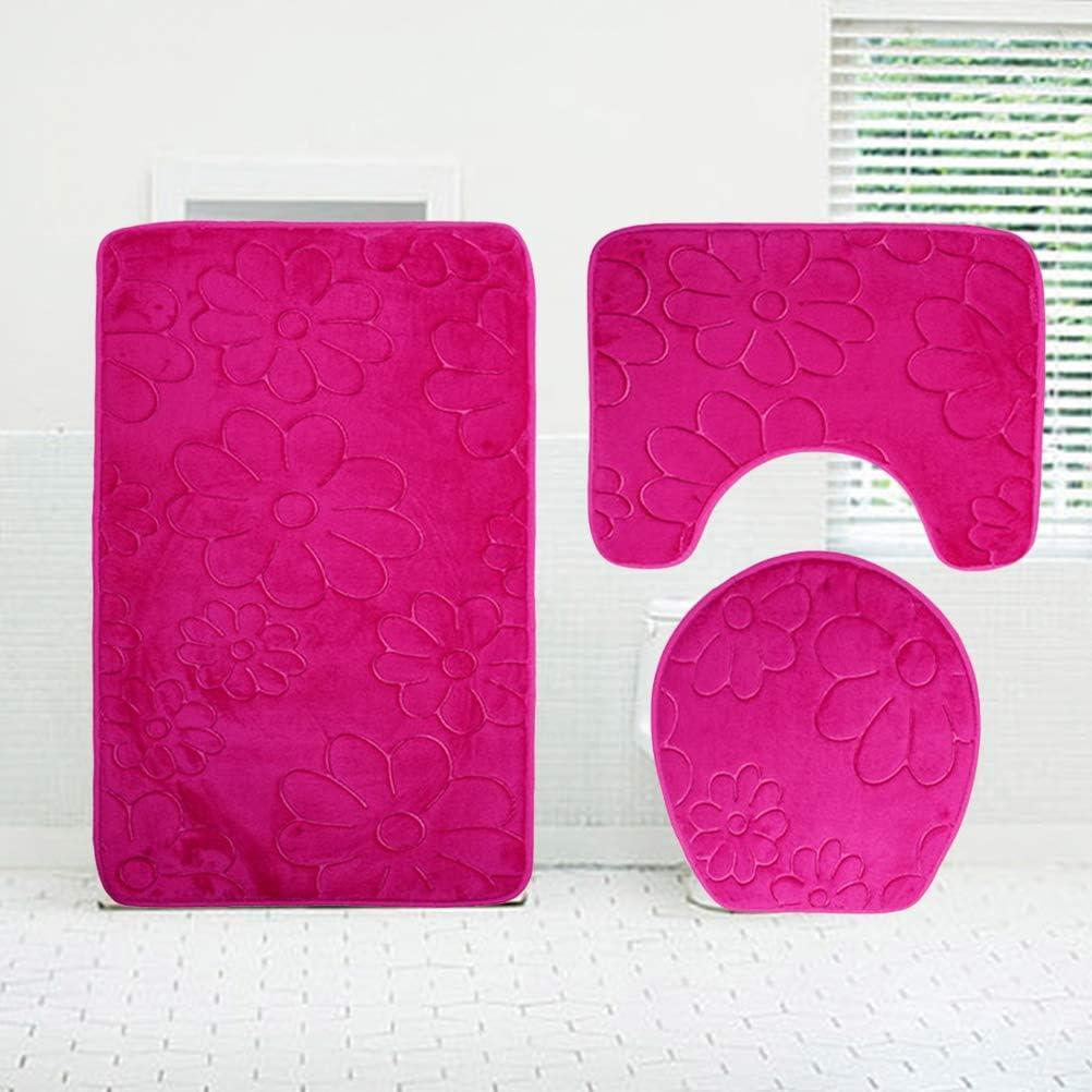 OUNONA Juego de 3 alfombrillas de ba/ño de franela en relieve con flores antideslizantes en forma de U para ba/ño color rosa
