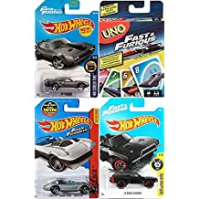 Fast & Furious Uno Hot Wheels Pack UNO Edition Card Game Snow Charger Fate of the Furious / Corvette Roaster / '70 Doge die-cast car Bundle