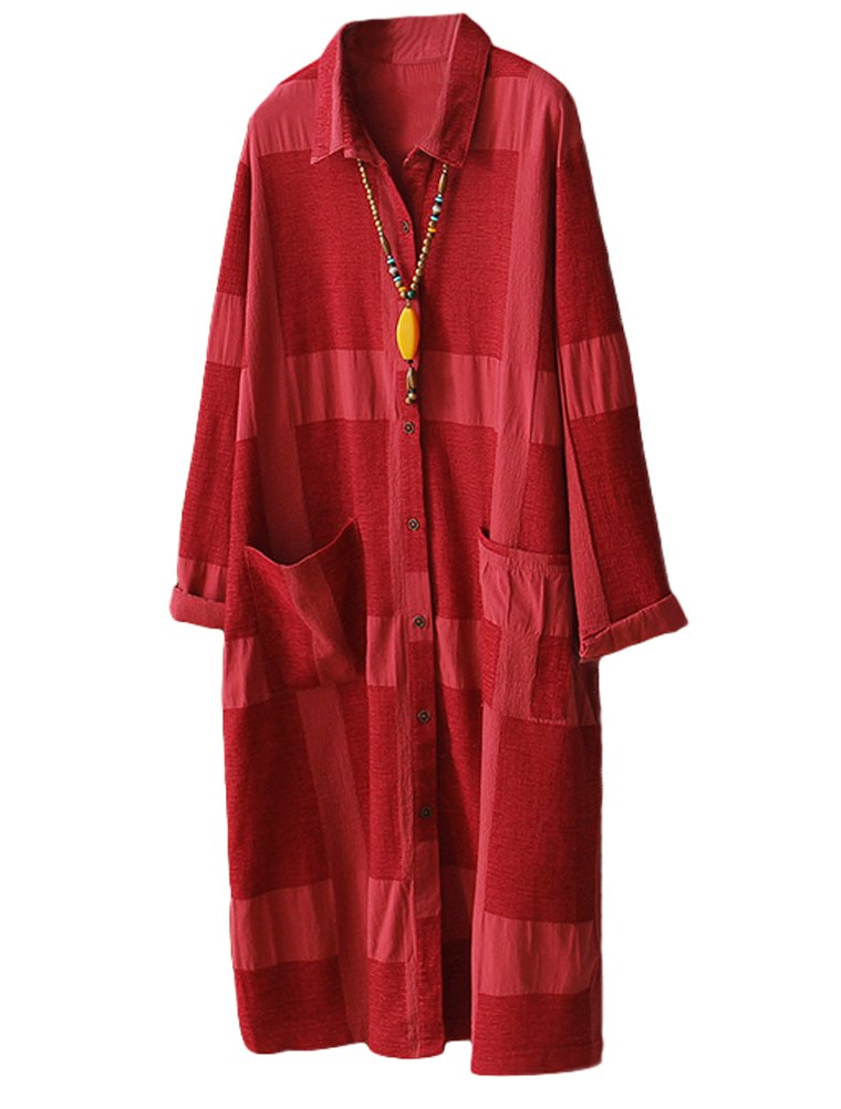 Minibee Women's Button Down Shirts Blouses Dress Casual Loose Fit (XL, Red)