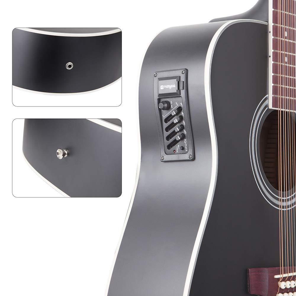 12 String Guitar Acoustic Electric Cutaway Guitar 4 Band EQ Starter Kit 41 Inch Black 12-String Guitar By Vangoa