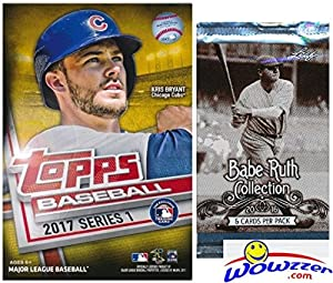 2017 Topps Series 1 MLB Baseball EXCLUSIVE Factory Sealed Hanger Box with 72 Cards including (2) MLB Award GOLD PARALLELS Plus BONUS Babe Ruth Collection Pack! Look for Autograph & Relics! Wowzzer!