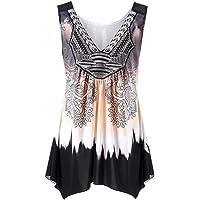3edf737ef7fc TWGONE Summer Tops for Women Plus Size 2019 V Neck Tank Top Sleeveless  Loose Printed Vest