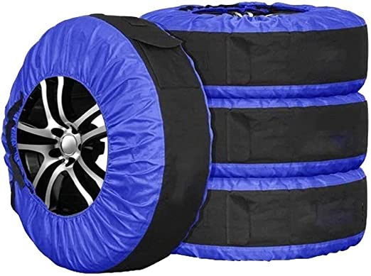 UCARE 4pcs Spare Tire Cover Waterproof Adjustable Seasonal Tire Storage Bag Dustproof Tire Tote Wheel Protection Covers with 4 Pcs Wheel Felts S: 26in// 66cm, Black1