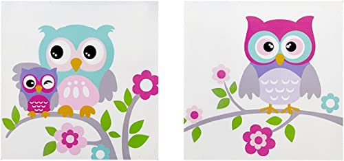 Mi-Zone, Wise Wendy 2 Piece Set Wall Art Print Deco Box, Modern Funny Animal Design, Silly Owls Pose Painting Living Room D cor, Hot Pink Multi, 12 x 12