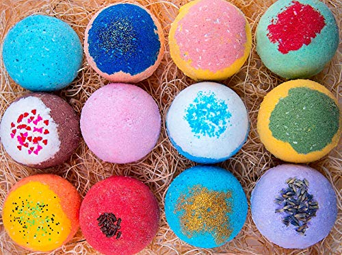 12 Bath Bombs For Kids All Natural Colorful Bath Bomb Kit - Safe for Sensitive Skin - Relaxing Bath Bombs For Girls and Boys - Best Gift Set For Kids - Made in USA ()