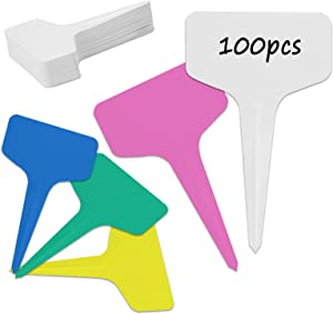 100 Pcs Multicolor Plant Labels, T-Type Plastic Garden Tags Waterproof Re-Usable Nursery Markers for Flower Vegetables Herb Signs