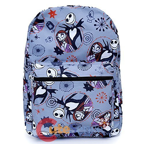 Disney Nightmare Before Christmas Sally & Jack Gray Allover Print 16IN Backpack -Grey -