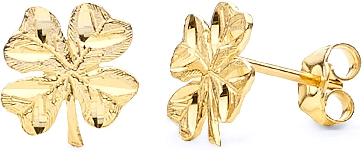 Selling and selling unisex 14K Yellow Gold Clover Crucifix X Earrings 10mm 8 Stud