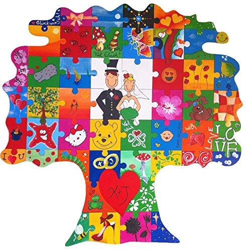 Holz Puzzle Baum zum Bemalen - originelle Hochzeitsgeschenke für das Brautpaar - Hochzeitsgeschenke selbstgemacht für Braut und Bräutigam - mit Farben und Zubehör