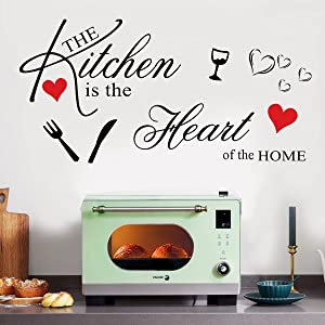 Vinyl Wall Sticker Quotes The Kitchen is The Heart of The Home Wall Decals with Red Heart Wall Stickers for Kitchen Dining Room Living Room Wall Decor Home Decoration.