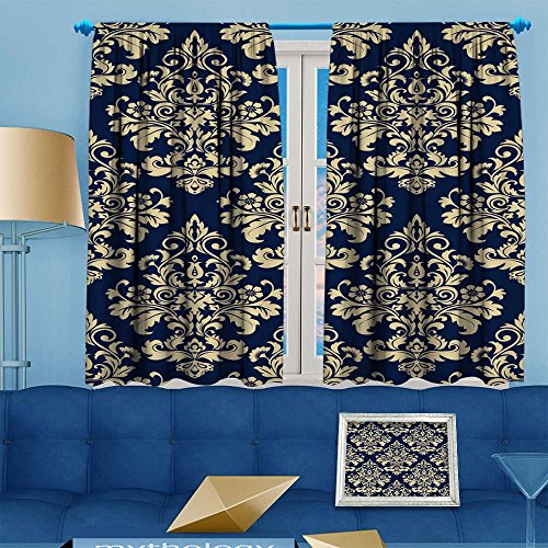- Printsonne 70% Blackout 2 Panels Curtains,wallpaper baroque damask vector background and blue ornament Thermal Insulated Drapes for Bedroom,108