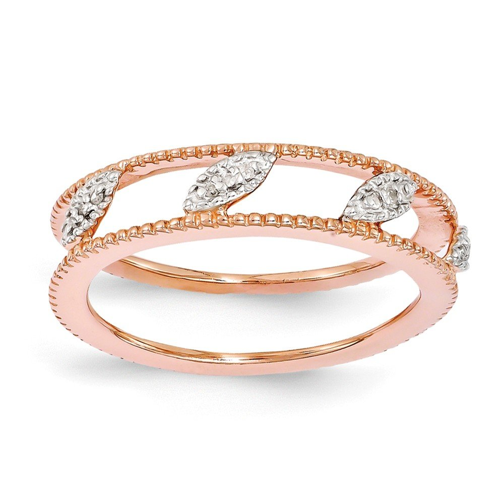 Sterling Silver Stackable Expressions Rose Gold-Plated Diamond Jacket Ring Size 8