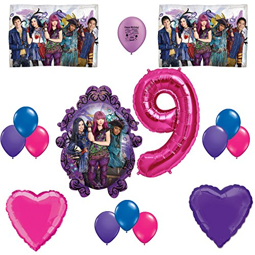 Descendants 2 Happy 9th Birthday Party Balloon Set