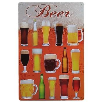 Amazon.com: Cervezas de vino Retro Vintage Bar Metal, cartel ...