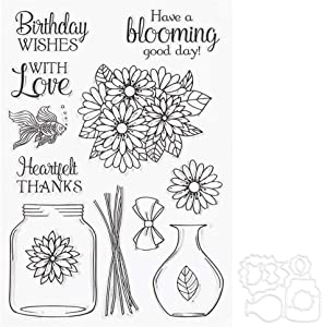 GLOGLOW Rubber Clear Stamps, Flower Vase Pattern Transparent Seal with Cutting Die for DIY Card Making Notebook Scrapbook Photo Album