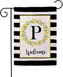 ULOVE LOVE YOURSELF Welcome Farmhouse Decorative Garden Flags with Letter P/Lemons Wreath Double Sided House Yard Patio Outdoor Garden Flags Small Garden Flag 12.5×18 Inch(P)