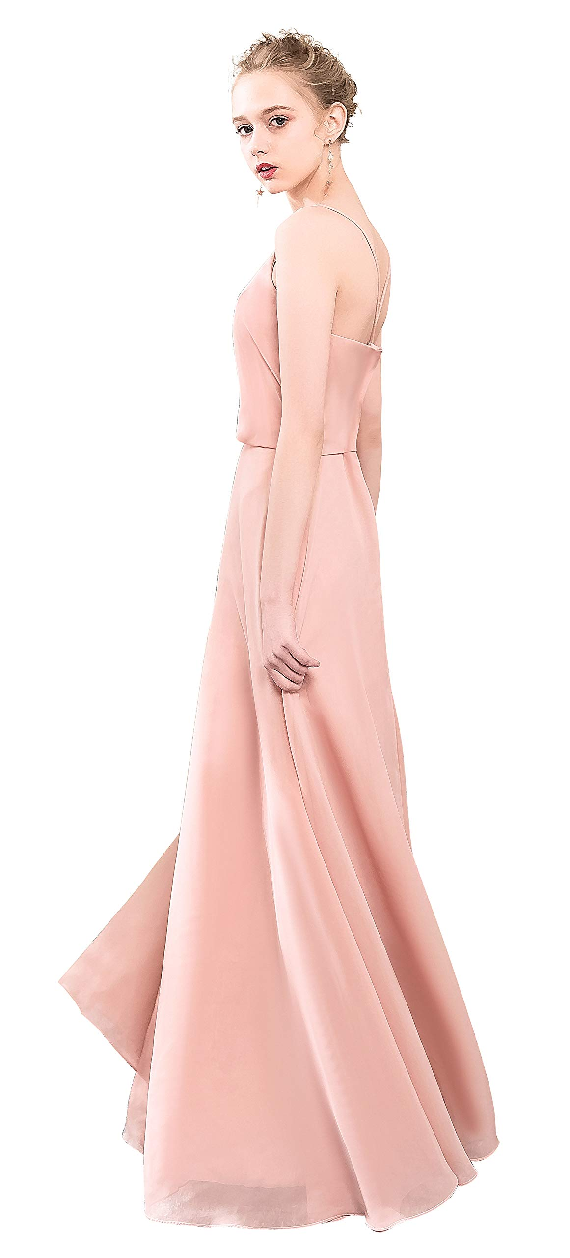 d08c0ac66dbb3 Lily Anny Chiffon Spaghetti Straps V Neck Flowing Bridesmaid Dress Prom  Gown L097LF Navy Blue US4