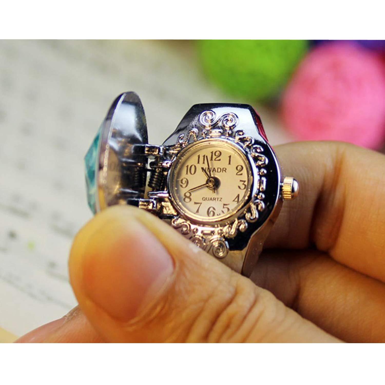 YENJO Women Fashion Multi-Function Flip Pointer Elastic Oval Quartz Ring Watch