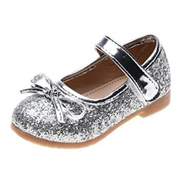 d795c2fac963c Amazon.com : Leaf2you Girls Glitter Mary Jane Bowknot Soft Leather ...