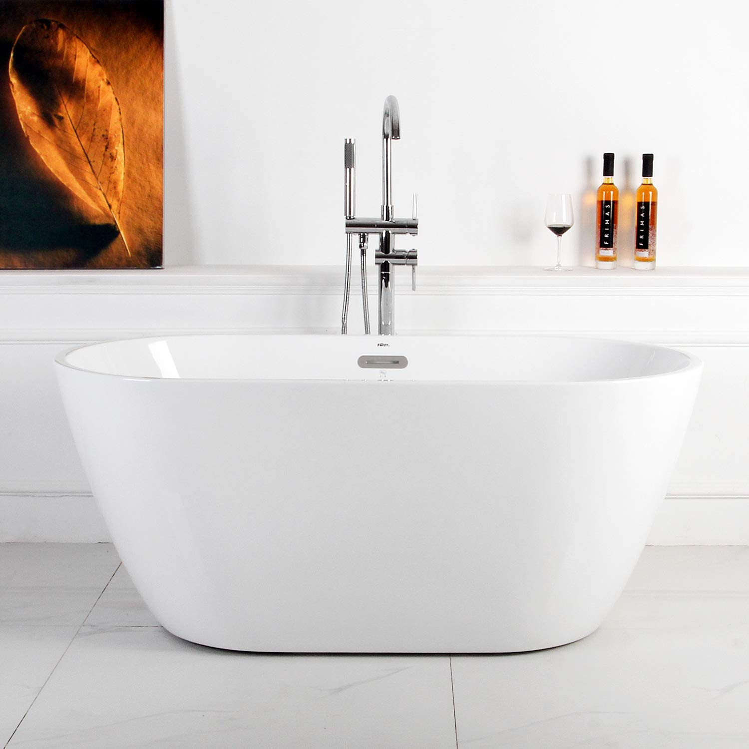 FerdY 55 Small Gracefully Shaped Freestanding Soaking Bathtub, Glossy White 2019 All New Oval, cUPC Certified, Drain Overflow Assembly Included