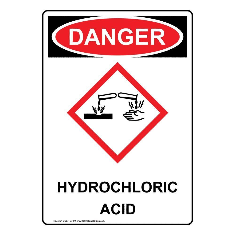 Compliancesigns Vertical Vinyl Osha And Ghs Danger Hydrochloric Acid