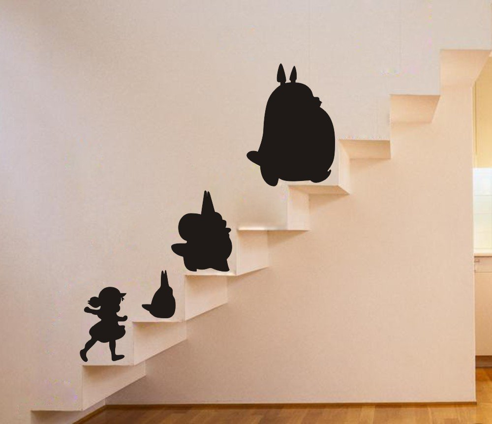 My Neighbor Totoro With Xiaomei Wall Art Sticker Nursery Childrenu0027s Room  Wall Decor Removable Black Totoro