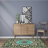 Printed floor mat Glazedative Wall Tile Ceramic Travel Destinations Khaki Blue Bath Mat Non Slip Absorbent 22''x60''